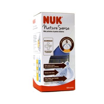 Biberón 150 ml Nature Sense PP-Silicona NUK, 1S de 0-6m